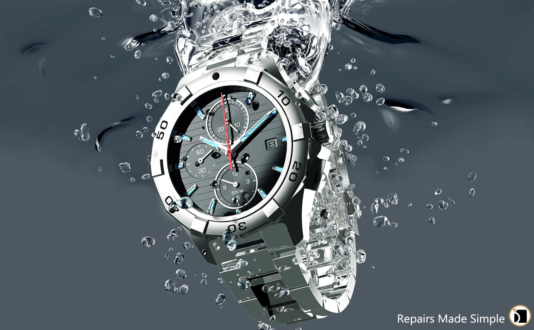 Image showcasing water resistant watch submerged