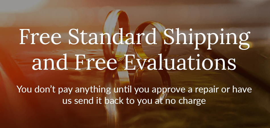 Banner Showing Free Evaluations & Shipping for Online Ring Repair by Mail