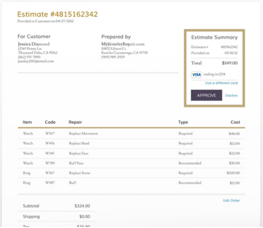 Image showcasing how it works to utilize the estimate approval after shipping the item in